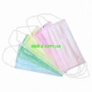 Маска медицинская трехслойная на резинке/розовая/зеленая 50шт