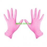 Перчатки SFM  одноразовые нитриловые н/о розовые текстурованные пальчики 100 шт  XS, X