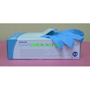 Перчатки нитриловые SafeTouch Advanced Slim Blue (3,0 гр) MEDICOM голубого цвета без пудры,размер XS,S,M  100 шт