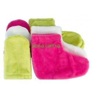 Набор для  парафинотерапии варешки и носочки (махра) разные цвета