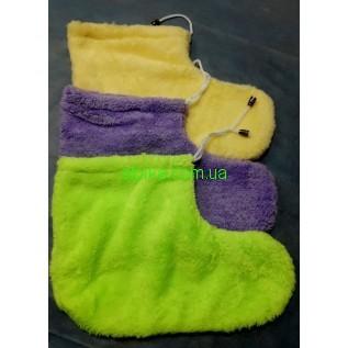 Махровые носочки для парафинотерапии ног с завязками разного цвета