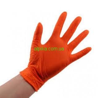 Перчатки нитриловые, без пудры, смотровые Оранжевые ABENA, размер S (100шт./уп.)